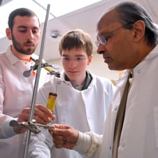 Dr. Sridhar with students Craig Levy and Junor Evan Jost
